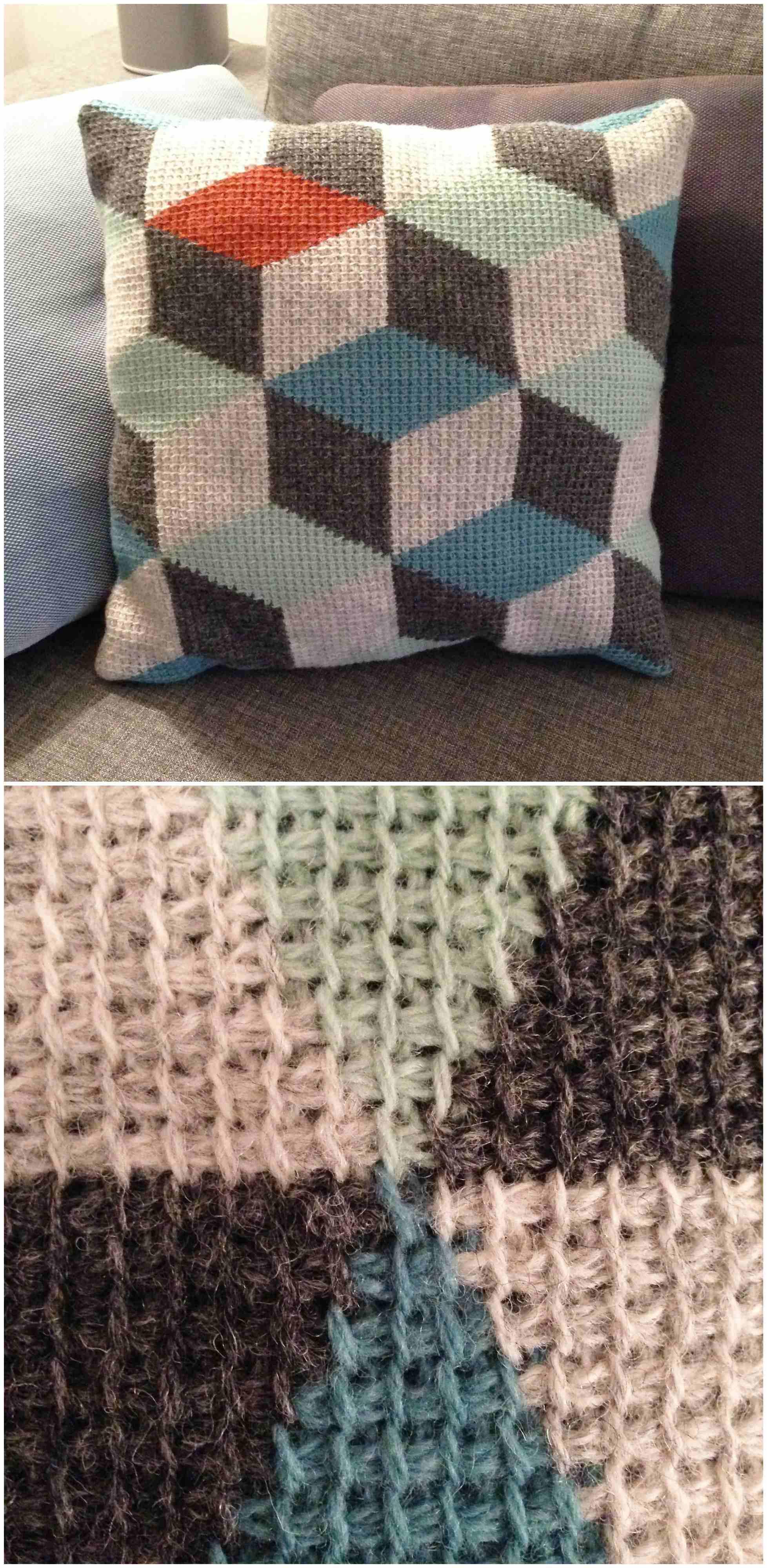 Tunisian Crochet Pillow 3d Blocks Craft Ideas