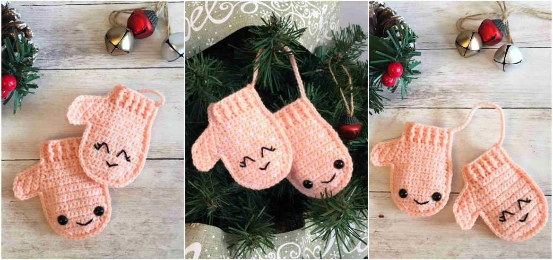 Crochet Christmas Mittens Ornament Craft Ideas